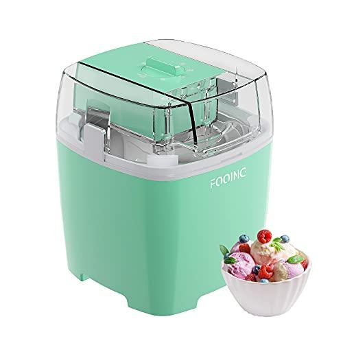 FOOING Ice Cream Maker Speiseeisbereiter, 1,5L Softeismaschine für Zuhause mit Drehknopf, Speiseeismaschine Geeignet für Eiscreme/Frozen Joghurt und Sorbet, Einschließlich Rezept und Pappbecher