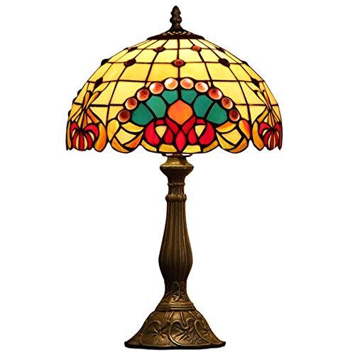 Bear & MH Tiffany Style Tafellamp, Europese creatieve tafellamp met metalen voet en kristalparels van gekleurd glas, slaapkamer, salontafel, woonkamer, bureau, bedlampje E27