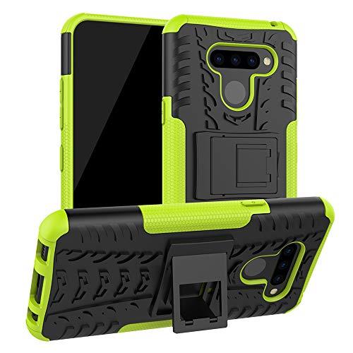 LiuShan LG Q60 / LG K50 Funda, Heavy Duty Silicona Híbrida Rugged Armor Soporte Cáscara de Cubierta Protectora de Doble Capa Caso para LG Q60 / LG K50 Smartphone,Verde