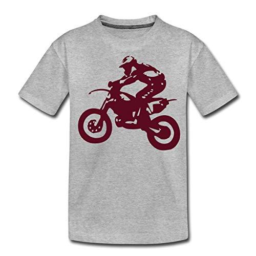 Biker Cross Enduro Teenager Premium T-Shirt, 146-152, Grau meliert