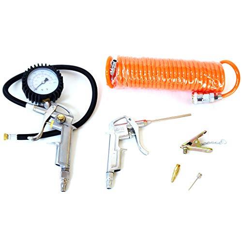 エアーツール エアーコンプレッサー用エアツール6点セット 空気圧測定エアープレッシャーゲージ タイヤゲージ 自転車タイヤ用ノズルもついている [DP400]