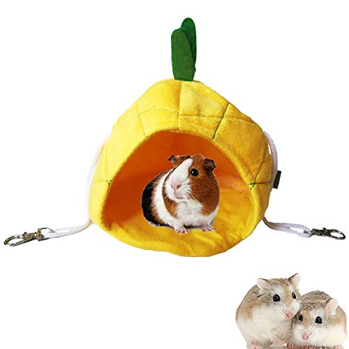 MICOKA Hamster Bed House Hamster Bedding Winter Hanging Fruit Pineapple Warm Bed Nest Accessories for Mini Small Animal Mice, Rat, Sugar Glider, Hedgehog, Squirrel, Chinchilla, Guinea Pig