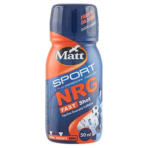 Matt Sport - Nrg Fast Shot - Bevanda Energetica, Energy Drink con Taurina, Guaranà e Caffeina - Integratore Alimentare Liquido, Reintegratore Energizzante di Vitamine al Gusto Agrumi - 4 confezioni