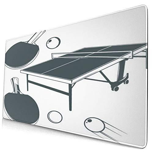 Nettes Mauspad ,Tischtennisplatte,Tischtennisschläger,Tischtenni,Rechteckiges rutschfestes Gummi-Mauspad für den Desktop,Gamer-Schreibtischmatte,15,8