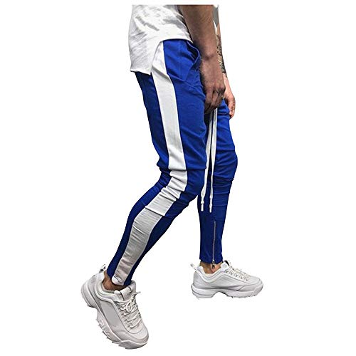 Aiserkly Herren Jogginghose Lässige elastische Sweatpants Bequeme Freizeit-Hosen Mode Gestreifte Pockets Hose Enger Beinabschluss Chinohose Stoff Hose Jogger Leisure Pants Cargohose Blau 2XL