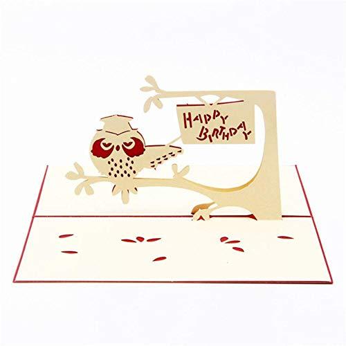 Piner 3D Hecho a Mano Lindo búho en Papel de árbol Invitación Tarjetas de felicitación Tarjeta Postal Fiesta de cumpleaños para niños Regalo Creativo Recuerdo, Cubierta roja
