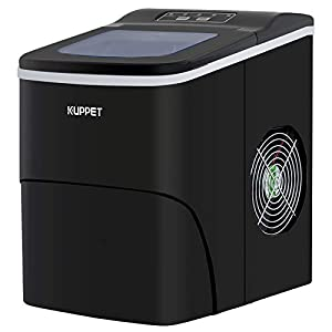 KUPPET Countertop Ice Maker Machine, Portable Automatic Ice Maker with LCD Display, 9 Ice Cubes Ready in 6min, 26 lbs/day - for Parties/Home/Office/Bar, Ice Scoop and Basket (Black)