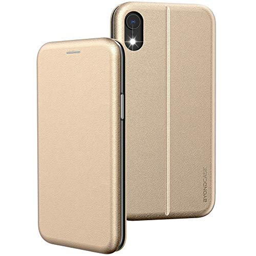 BYONDCASE iPhone XR Hülle Gold, iPhone XR Handyhülle [Deluxe Leder Flip-Hülle Klapphülle] Fullbody 360 Grad R&umschutz Ultra Slim kompatibel mit dem iPhone XR Hülle