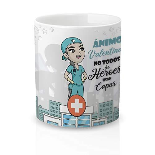 Yujuuu! | Taza Personalizable con Nombre | Taza cerámica para Regalo Original Profesión Enfermera. Resistente 100% al microondas y lavavajillas. Taza con Frase Héroe sin Capa