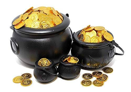JOYIN Black Cauldron with Handle 8' for St. Patrick's Day Party Favors Decorations, Halloween Parties Candy Bucket, Candy Kettle and Pot of Gold Cauldron (Pack of 4)