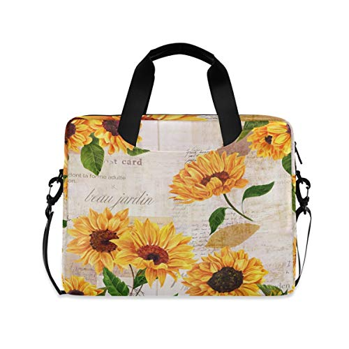Roses With Eyeballs Laptop Shoulder Messenger Bag for 15.6 inch 16 inch Laptop Sleeve Case Travel-Friendly Briefcase Retro Sunflower Size: One Size
