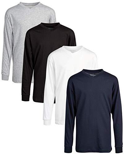 하빅 보이즈의 롱 슬리브 티 셔츠의 갤럭시 - 고체 기본 태그리스 V-NECK KNIT TOP(4팩)