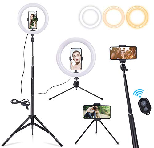 "EVILTO 10"" Selfie Ring Light with Tripod Stand & Cell Phone Holder for Live Stream/Makeup, Mini Led Camera Ringlight for TikTok/YouTube Video Compatible with iPhone/Android"