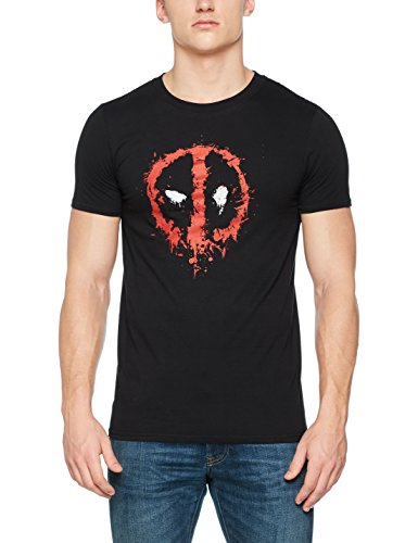 Marvel Herren Deadpool Paint Logo T-Shirt, Schwarz, XL