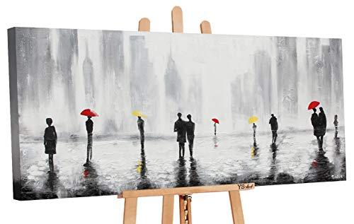 YS-Art | Acryl Gemälde Treffen 2 | Handgemalte Leinwand Bilder | 115x50cm | Wandbild Acrylgemälde | Moderne Kunst | Leinwand | Unikat | Grau