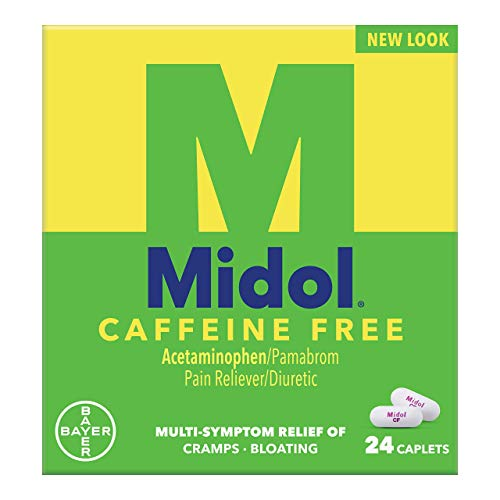 Midol, Caffeine Free, Menstrual Period Symptoms Relief Including Premenstrual Cramps, Pain, Headache, and Bloating, For Teens and Adults, Caplets, 24 Count
