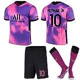 XQQX Camiseta de fútbol para Hombre 2021 New Paris Three Away Camiseta Rosa púrpura Camiseta de fútbol No. 10 Neymar No. 7 Mbappé Camiseta para niños + Shorts + Calcetines