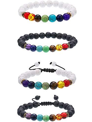 Bememo 4 Pieces Lava Stone Bracelets 7 Colors Chakra Beads, Aromatherapy Bracelets Bangles for Essential Oils (Style Set 1)