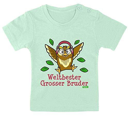 HARIZ Baby T-Shirt Weltbester Grosser Bruder Eule Musik Weltbester Grosser Bruder Plus Geschenkkarten Zahnpasta Grün 3-9 Monate / 60-69cm