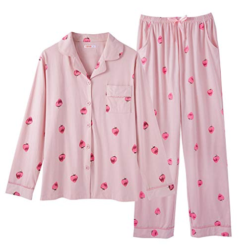 GOSO Schlafanzug Mädchen 140 146 152 164 Pyjamas Button Down Pjs für Teen Tween Girls Cartoon Tops und Long Pants Loungewear, Rosa 4, L=146