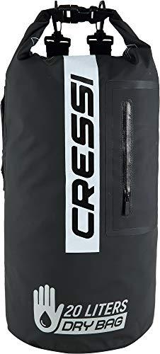 Cressi Unisex– Erwachsene Dry Bag Premium 20LT wasserdichte Tasche/Rucksack für sportliche Aktivitäten, Schwarz/Schwarz/Bicolor, 20 L