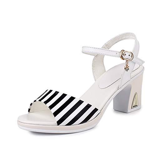 Correa de Tobillo para Mujer Tacones Altos Zapatos de Verano con Punta Abierta Zapatos de tacón Grueso Hebilla Fiesta Oficina Carrera Bombas