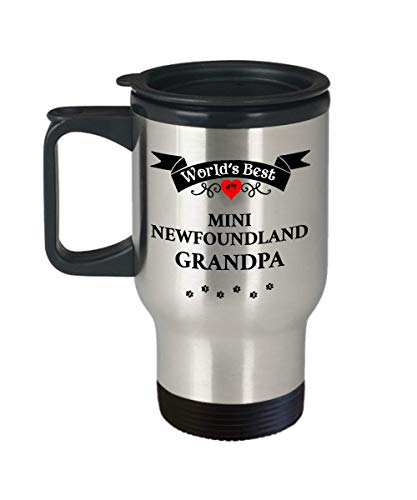 World's Best Mini Newfoundland Grandpa Dog Cup Unique Travel Coffee Mug With Lid Gift for Men