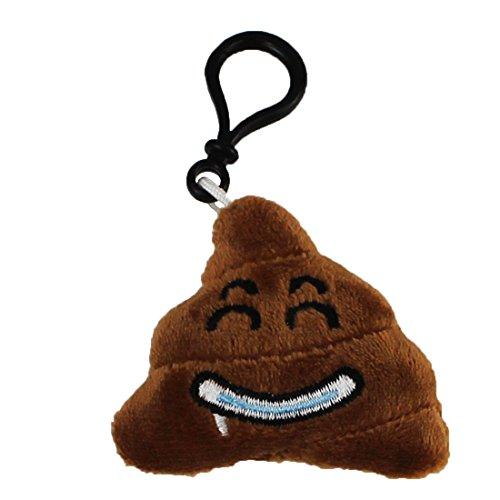 Emoji Schlüsselanhänger Kackhaufen Smiley aus Plüsch Pile of Poo Smiling Poop Softeis hochwertiger Emoticon Anhänger mit Schlaufe und Karabiner-Haken von wortek