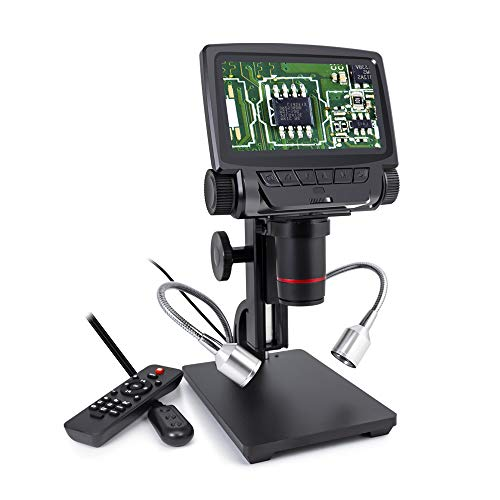 Linkmicro HDMI/USB Digital Microscope, 260X Magnifier with 5 Inch 1080P Screen - PC Measurement Software for Electronic Repairing and Circuit Board Soldering Tools