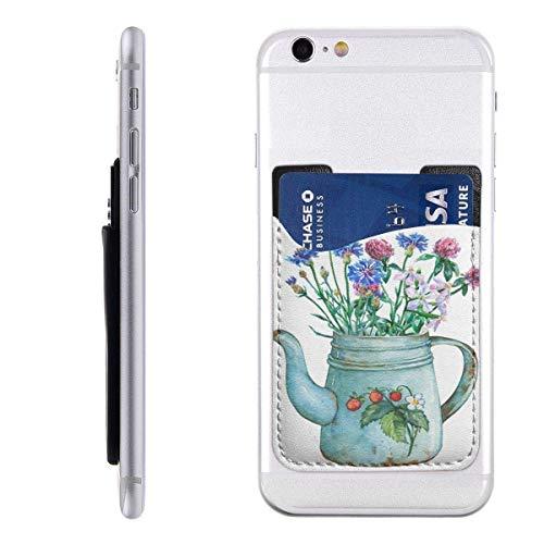 Interieur Shop portemonnee voor mobiele kaarten ID-kaartenvak met theepot vintage metaal blauw met aardbeien en bos wilde bloemen C