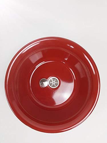 Edelstahl Design Spülbecken Camping Spüle Waschbecken + Ablauf Maße: 32cm (320mm) Rot Rostfarbig (ad-ideen)