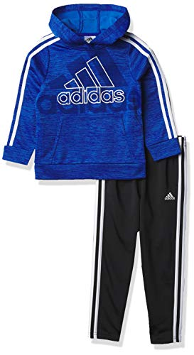 adidas Boys' Pullover Sweatshirt & Tricot Jogger Active Clothing Set, Team Royal Heather, 2T