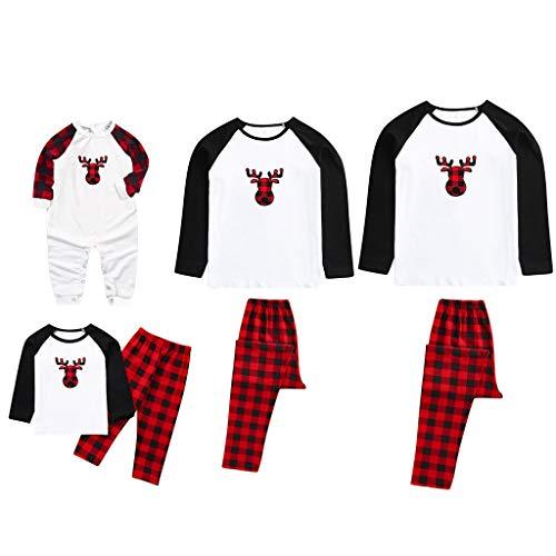 acction Pijamas Navidad para Familias Invierno Otoño Top+Pantalones Ropa de Dormir para Mamá Papá Niños Bebé Conjuntos Navideños de Algodón