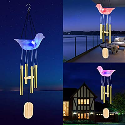 Kearui Bird Wind Chimes Outdoor Solar Lights, Led Solar Powered Wind Chimes with Multi-Color Changing for Home Party Yard Garden Hanging Decor, Memorial Christmas Birthday Gifts for Women Mom
