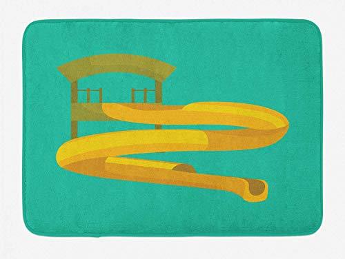 vrupi Kinderzimmer Bad Matten Kinderzimmer Spaß Rutsche Piktogramm Aquapark Schwimmbad Büro Teppich Villa Matten Studie Teppich 40x60cm Flanell rutschfesten Stoff