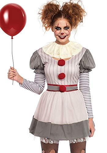 shoperama Damen-Kostüm Creepy Clown Killer Pennywise Halloween Leg Avenue gruselig Horror Mörder boshaft, Größe:S/M