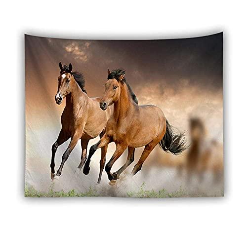 Tapiz de pared, bohemio, hippie, para colgar en la pared, diseño de caballo marrón, rectangular, tela de impresión para sala de estar, dormitorio