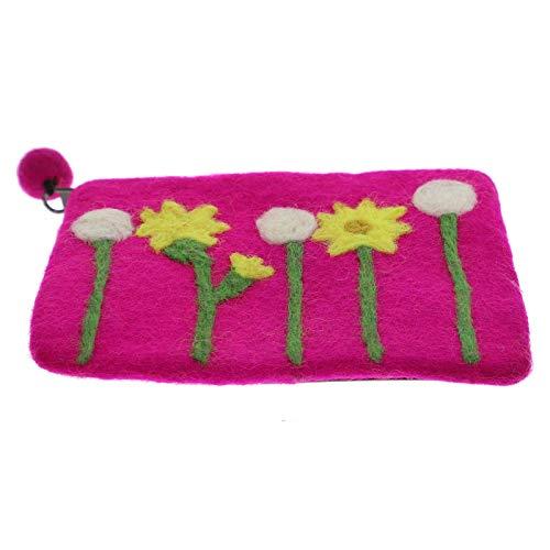 KUNST UND MAGIE Damen Geldbeutel Kulturtasche aus Filz, Farbe:Pink