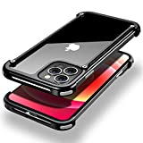OATSBASF Aluminum Bumper Case Compatible with iPhone 12, Utral-Thin Corner Corver Phone Case for iPhone 12 Pro 6.1-inch (Black)