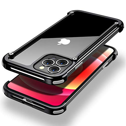 OATSBASF Aluminum Bumper Case Compatible with iPhone 12 Pro Max, Utral-Thin Corner Corver Bumpers Case for iPhone 12 Pro Max 6.7-inch (Black)