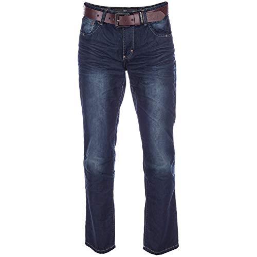 UKMiniMarket Crosshatch da Uomo Nuovo Finotto Gamba Dritta Regular Jeans Denim Dark Wash con Cintura - Jeans, Misura: 32L