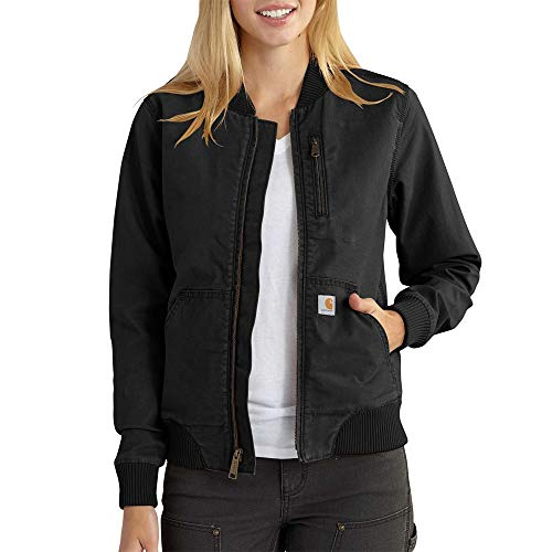Carhartt Crawford Bomber Jacket Chaquetas, Black, M Regular para Mujer
