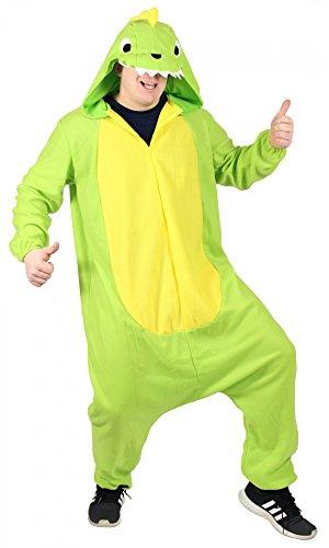 Foxxeo Dinosaurier Kostüm für Erwachsene Damen Dino Herren Overall weit grün gelb Pyjama Jumpsuit Tierkostüm Fasching Karneval Party Damenkostüm Herrenkostüm Männer Größe XL