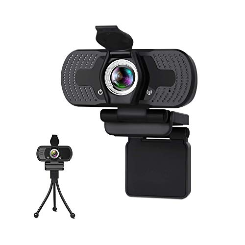 Webcam,Webcam with Microphone,Noise Cancelling 1080P HD 110-Degree View Angle Webcam with Privacy Cover,Holder,Plug & Play Camera,USB PC Webcam for Video Conference,Gaming,Online Work,Home Office