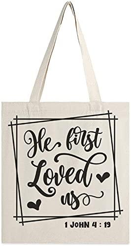 MODORSAN He First Loved Us Png Canvas Tote Bag, bolsos de hombro, bolsos de compras para niñas, bolsos de artículos diversos, bolsos para llevar libros