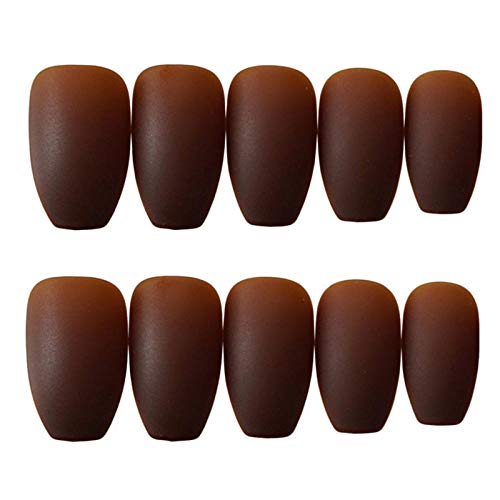 CLOAAE 24Pcs brown square head matte false nails, medium and long full coverage pressed on nails for girls and brides false nails