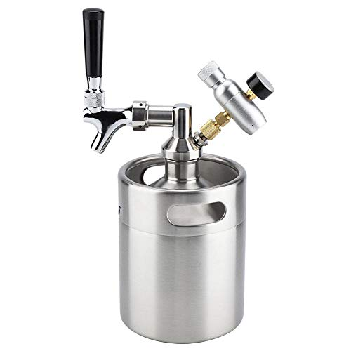 2L biervat, mini roestvrijstalen vat met kraan Onder druk gezet ambachtelijk bier dispenser systeem voor zelf brouwen Set roestvrijstalen vaten voor het vergisten, bewaren en distribueren van ambachtelijk bier