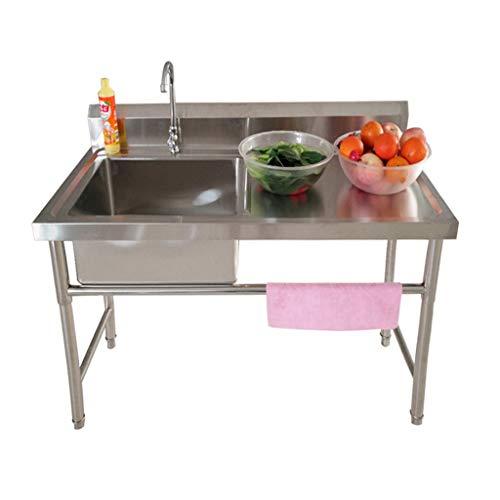 Gewerbliche Küchenspüle Hauptwaschbecken Edelstahl 1-Abteil-Spüle Mit Arbeitstisch Für Den Außenbereich Innengarage Küche Waschküche
