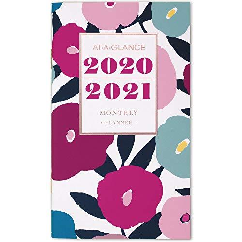 AT-A-GLANCE 2020-2021 Monthly Pocket Planner, 2 Year, 3-1/2' x 6', Pocket Calendar, Badge Floral (1282F-021)