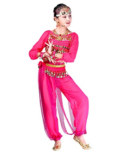 Grouptap Bollywood Indio niños niñas bharatanatyam Manga Larga Danza del Vientre 2 Piezas Rosa kuchipudi niños Disfraces Disfraz (Rosa, 130-150 cm)